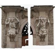 Engelenstandbeeld op pijlers 3d model