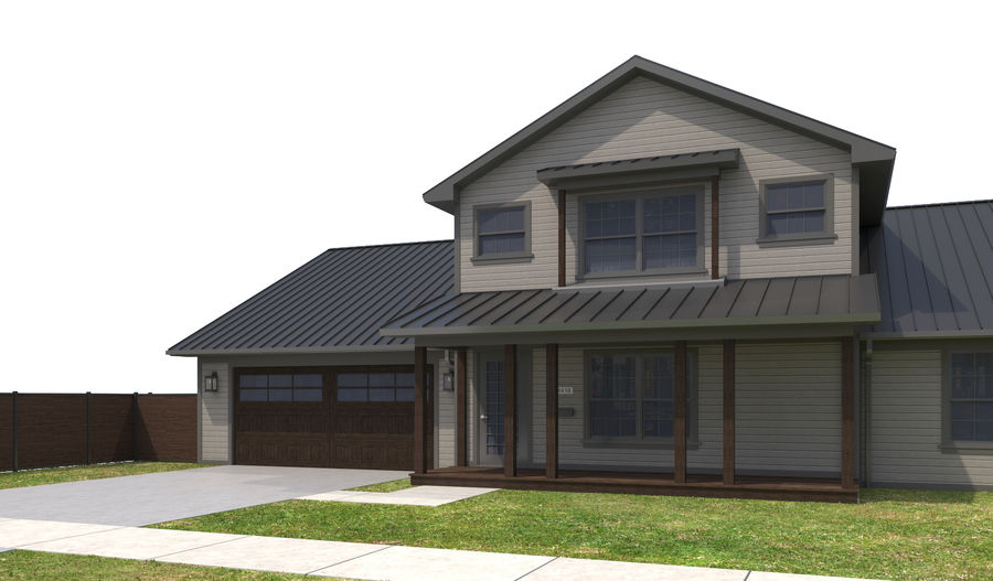 House-111 royalty-free 3d model - Preview no. 4