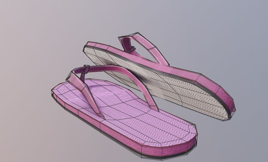 flip flops royalty-free 3d model - Preview no. 7