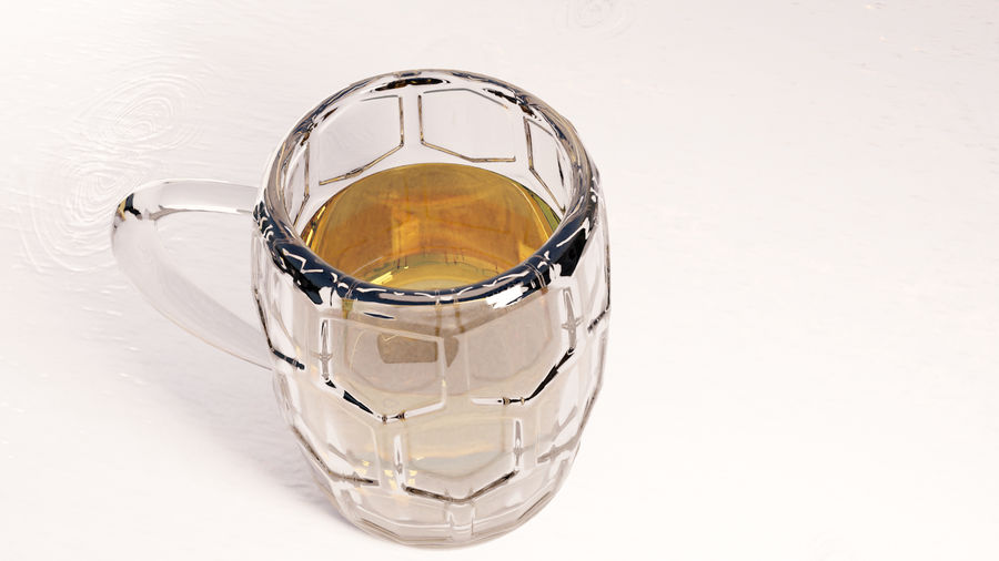 a glass of beer royalty-free 3d model - Preview no. 2