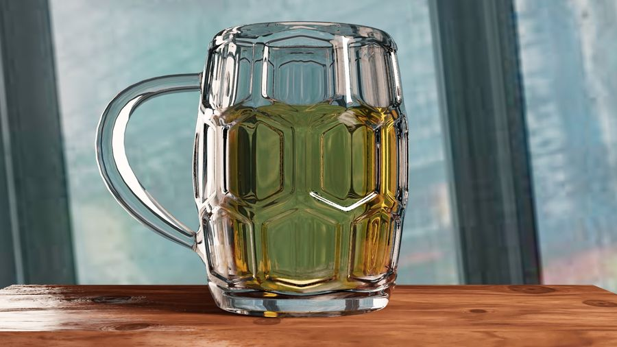 a glass of beer royalty-free 3d model - Preview no. 1