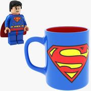 Super Man Mug y LEGO modelo 3d
