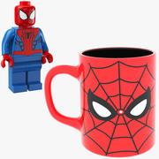 Spider Man Lego Y Taza modelo 3d