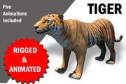 孟加拉虎索具和动画 3d model