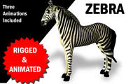 Zebra Rigged and Animated 3d model