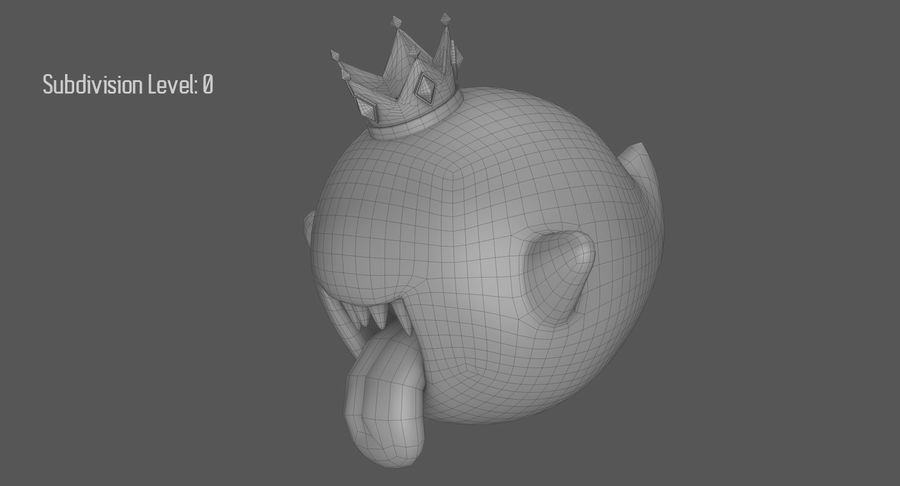King Boo Super Mario Ghost royalty-free 3d model - Preview no. 15