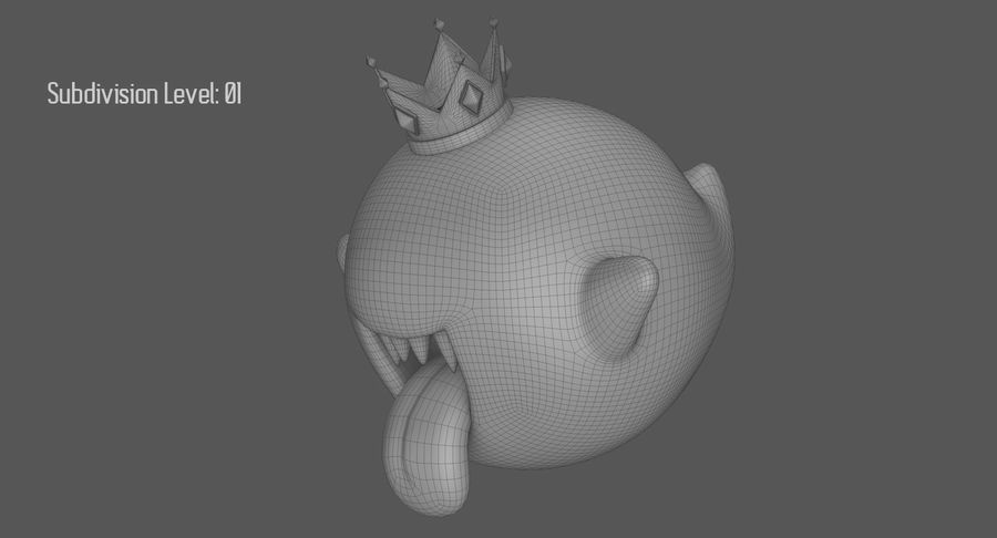 King Boo Super Mario Ghost royalty-free 3d model - Preview no. 16
