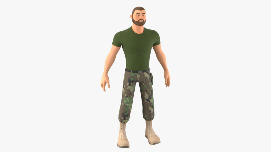Stylized Soldier - PBR royalty-free 3d model - Preview no. 11
