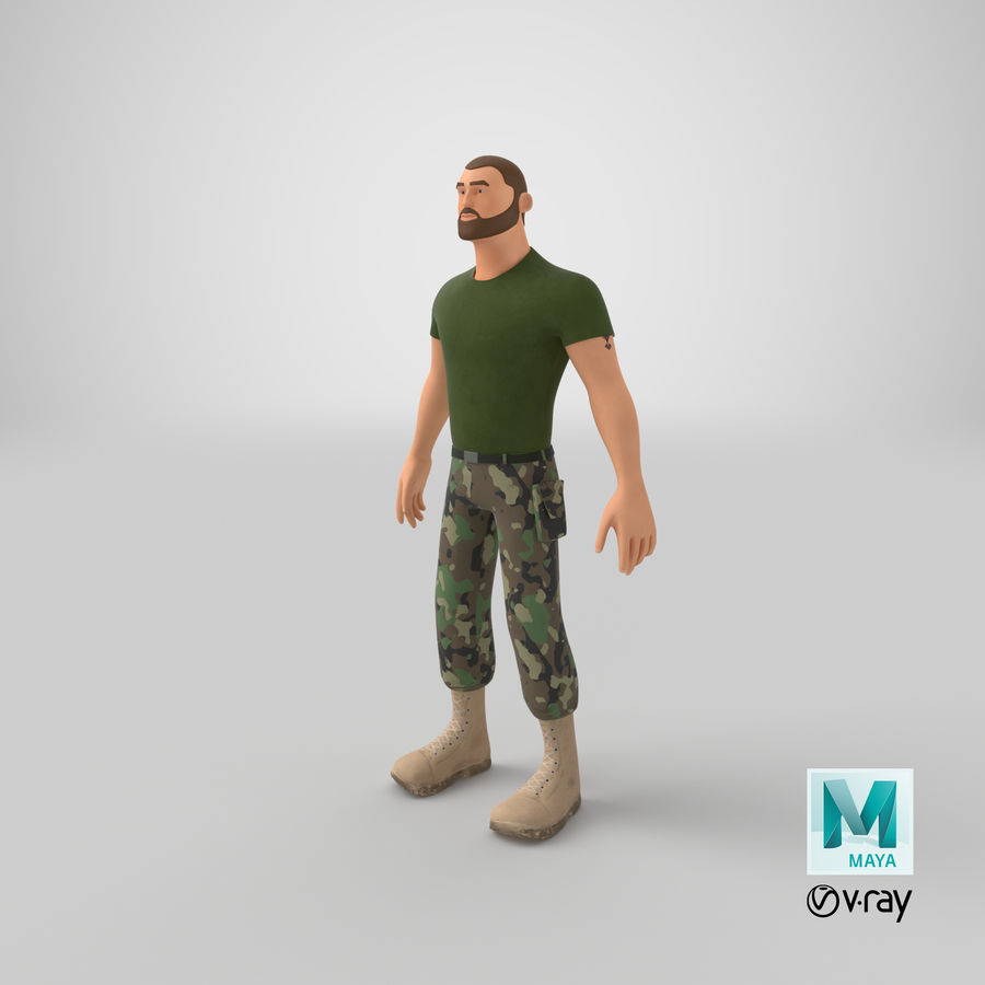 Stylized Soldier - PBR royalty-free 3d model - Preview no. 25