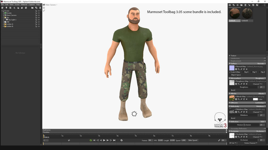 Stylized Soldier - PBR royalty-free 3d model - Preview no. 2
