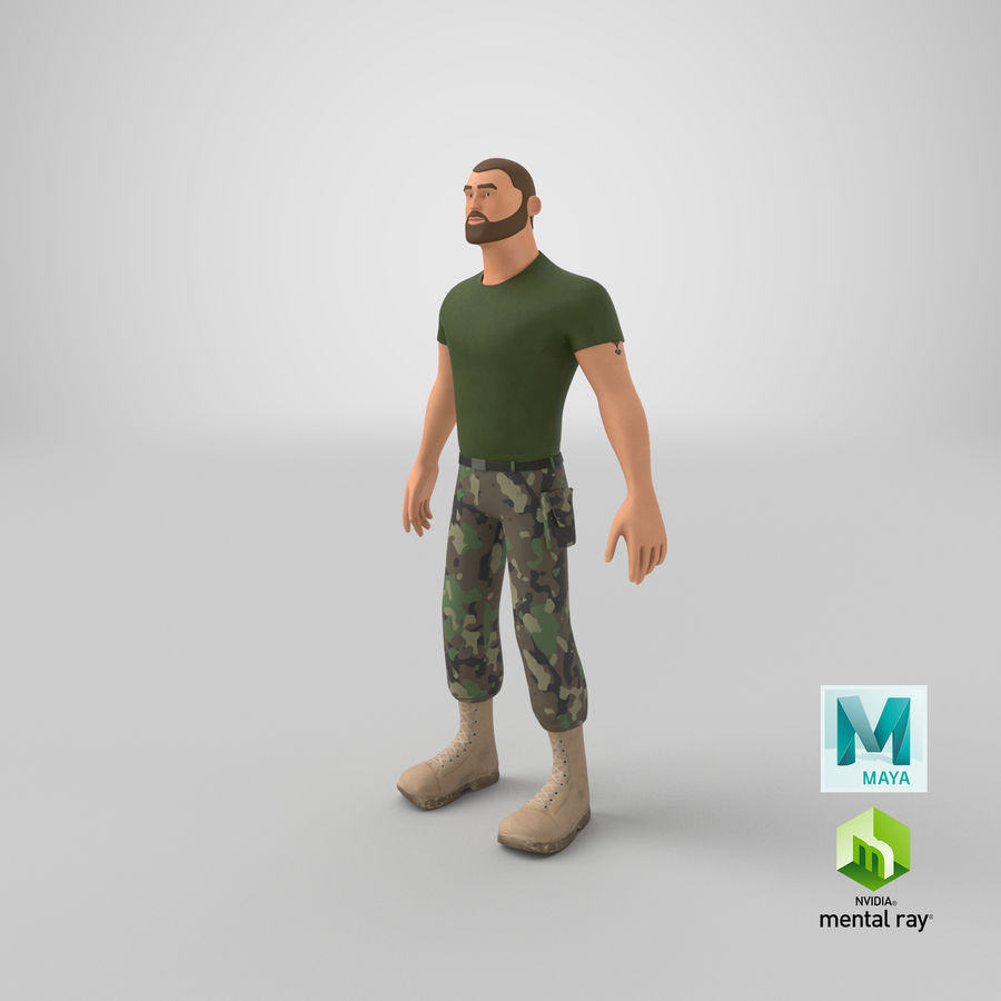 Stylized Soldier - PBR royalty-free 3d model - Preview no. 26