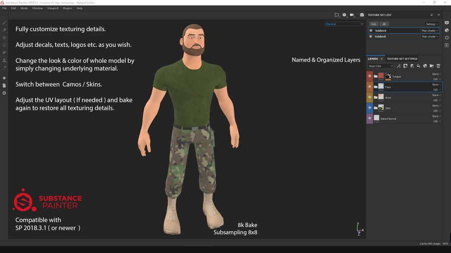 Stylized Soldier - PBR royalty-free 3d model - Preview no. 3