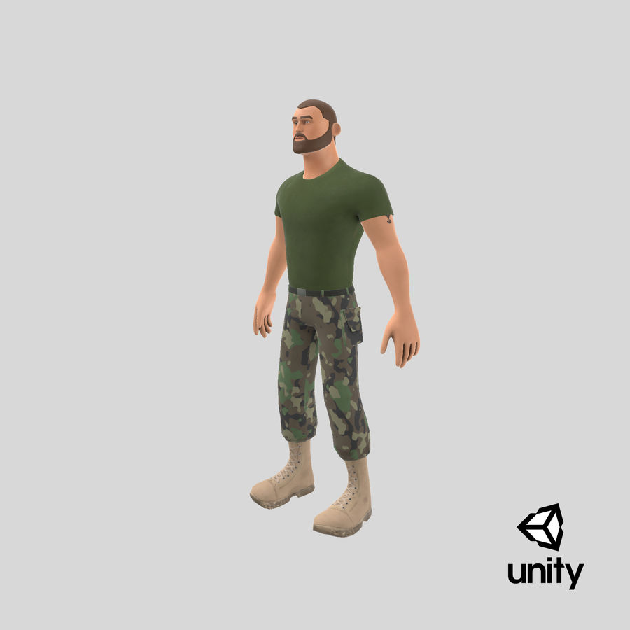 Stylized Soldier - PBR royalty-free 3d model - Preview no. 30