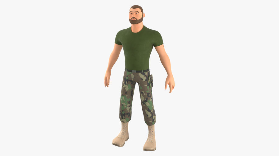 Stylized Soldier - PBR royalty-free 3d model - Preview no. 15