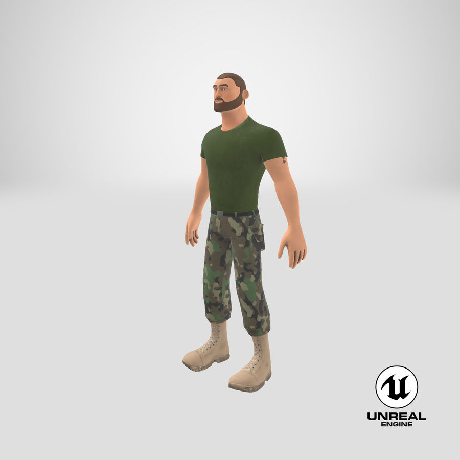 Stylized Soldier - PBR royalty-free 3d model - Preview no. 29