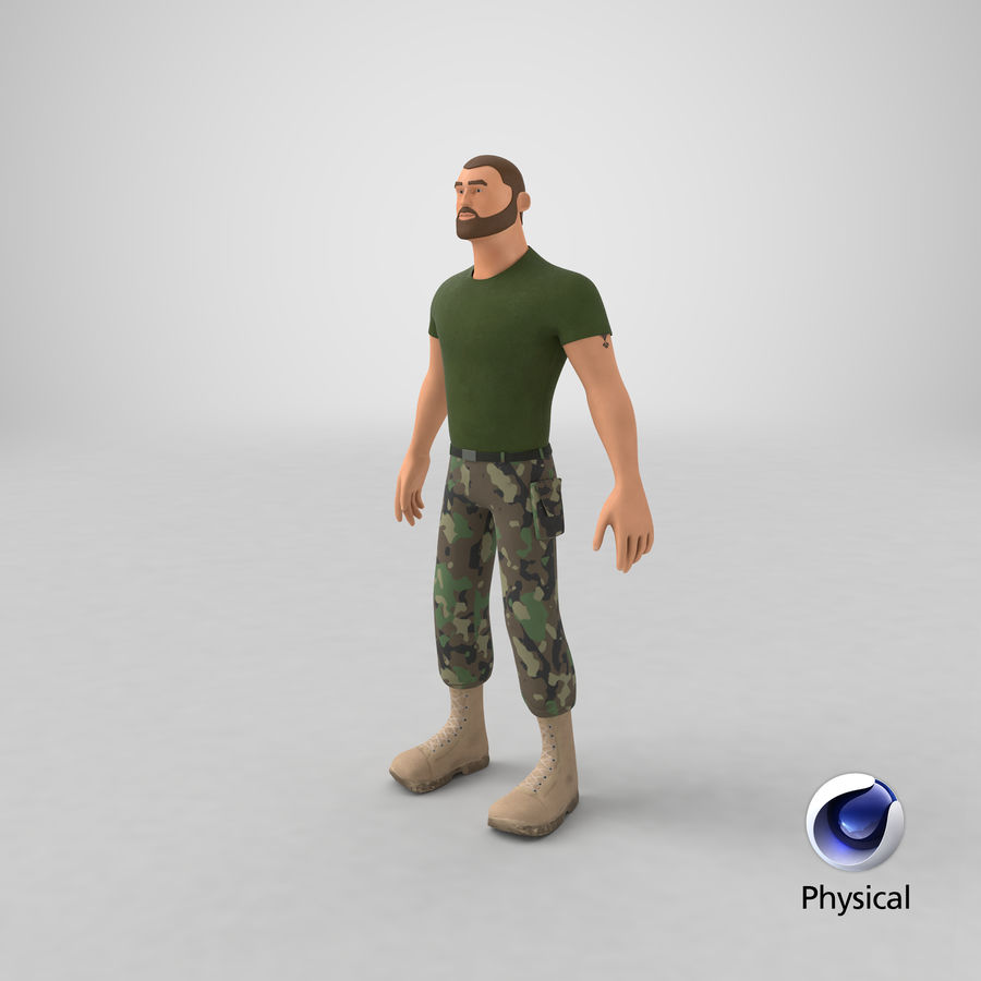 Stylized Soldier - PBR royalty-free 3d model - Preview no. 31