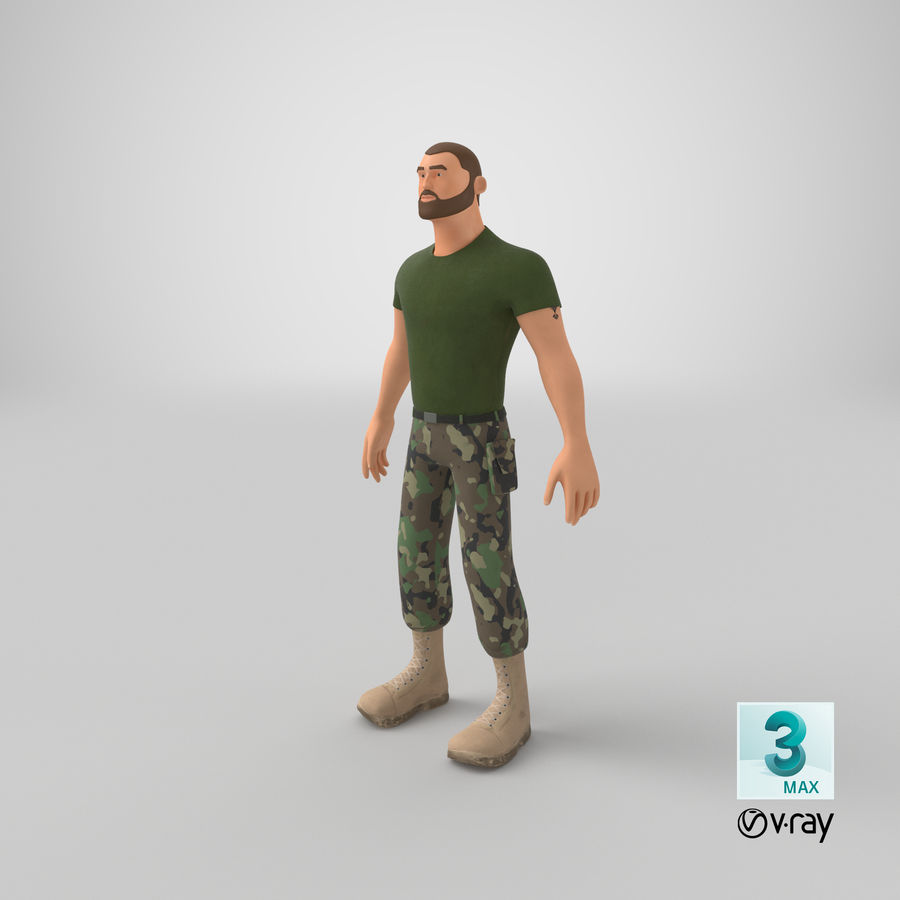 Stylized Soldier - PBR royalty-free 3d model - Preview no. 27