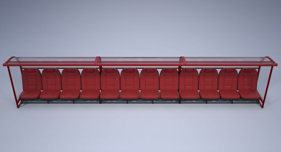 Soccer Bench royalty-free 3d model - Preview no. 6