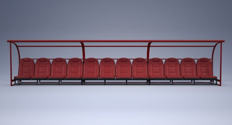 Soccer Bench royalty-free 3d model - Preview no. 7