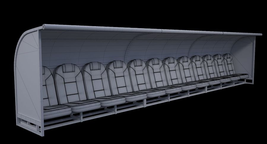 Soccer Bench royalty-free 3d model - Preview no. 11