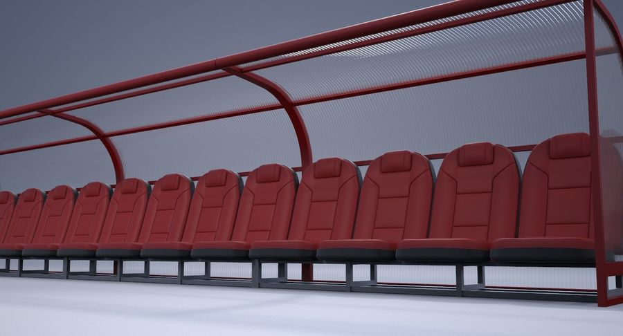 Soccer Bench royalty-free 3d model - Preview no. 10