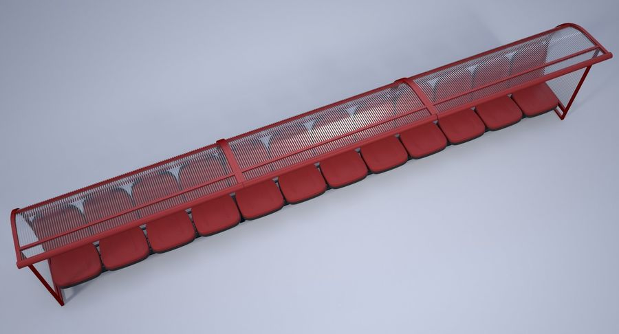 Soccer Bench royalty-free 3d model - Preview no. 8