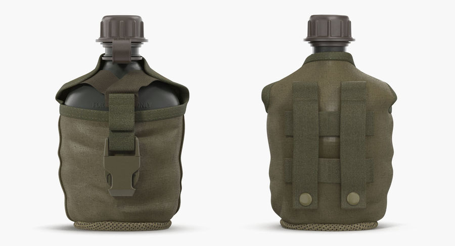 Outdoor Water Canteen Plastic Military 3D Model royalty-free 3d model - Preview no. 4
