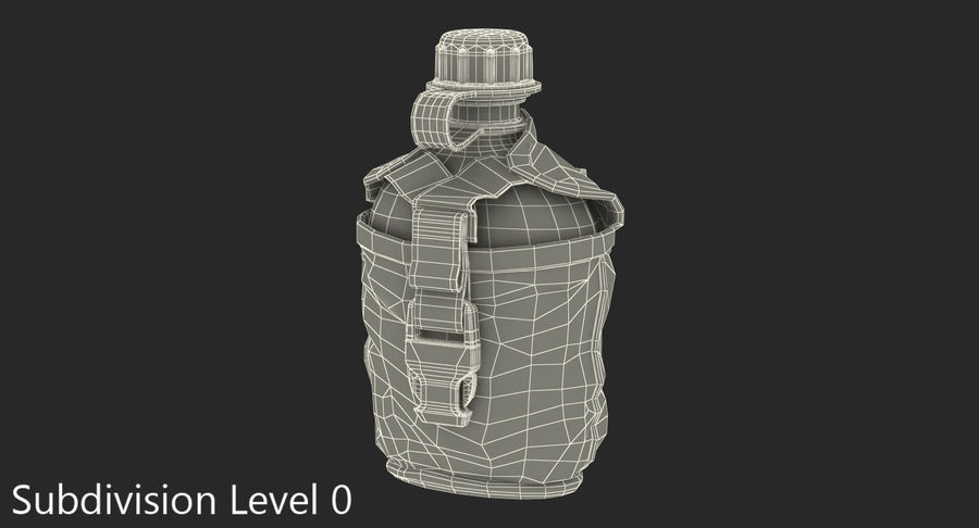 Outdoor Water Canteen Plastic Military 3D Model royalty-free 3d model - Preview no. 11