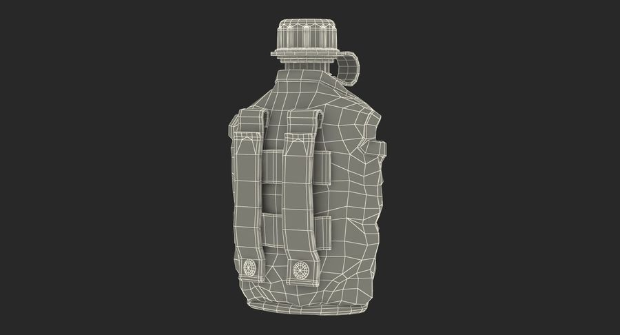 Outdoor Water Canteen Plastic Military 3D Model royalty-free 3d model - Preview no. 20