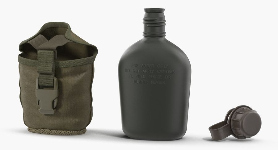 Outdoor Water Canteen Plastic Military 3D Model royalty-free 3d model - Preview no. 5