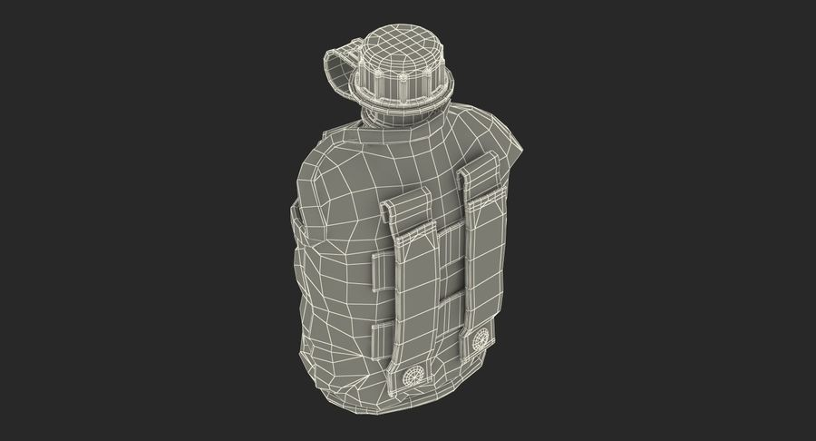 Outdoor Water Canteen Plastic Military 3D Model royalty-free 3d model - Preview no. 21