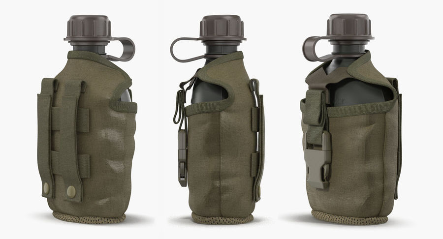 Outdoor Water Canteen Plastic Military 3D Model royalty-free 3d model - Preview no. 3
