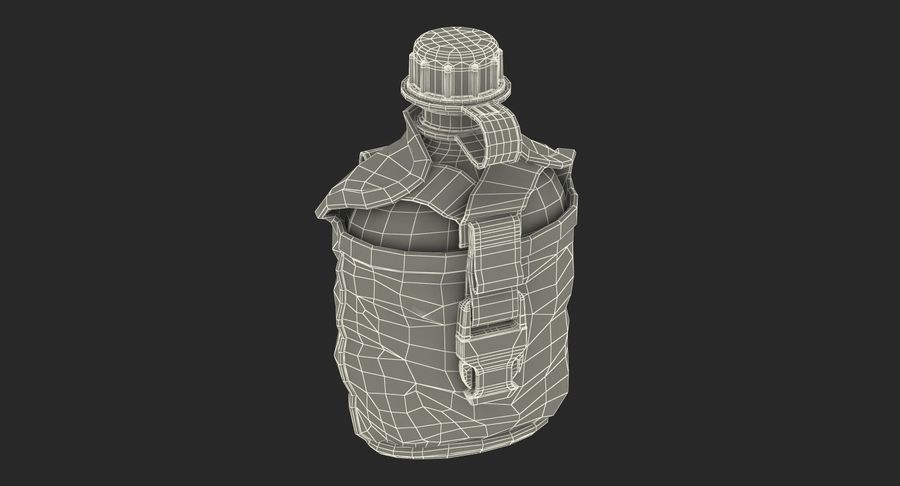 Outdoor Water Canteen Plastic Military 3D Model royalty-free 3d model - Preview no. 19