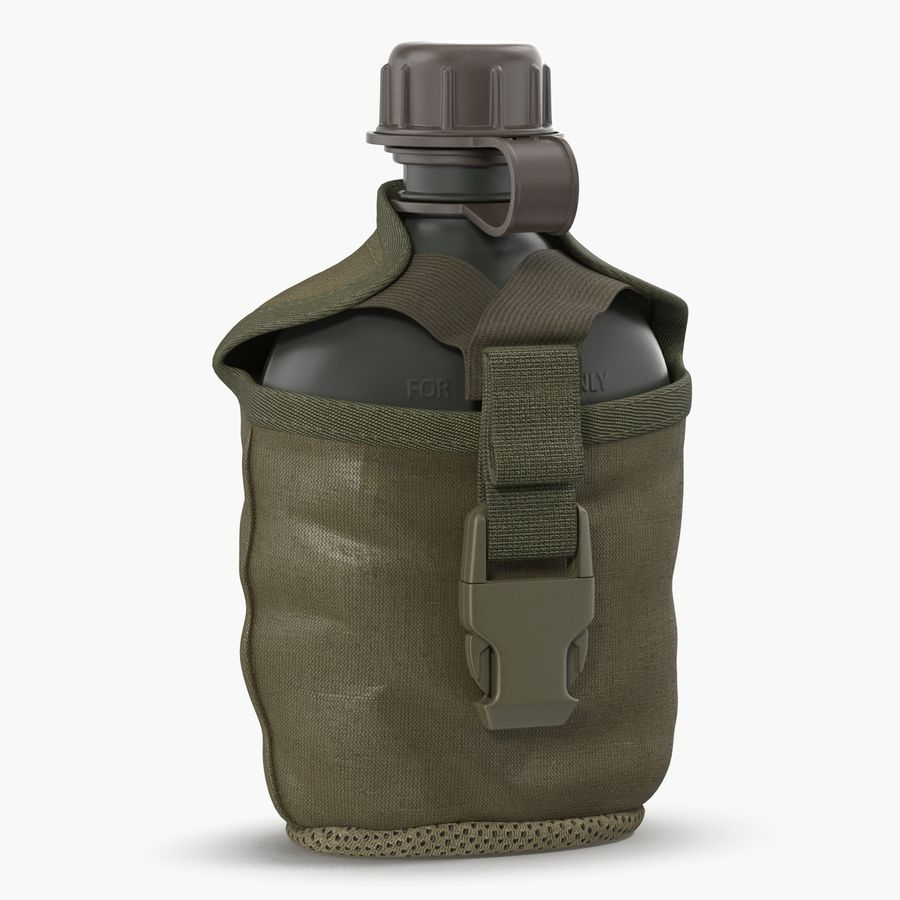 Outdoor Water Canteen Plastic Military 3D Model royalty-free 3d model - Preview no. 1