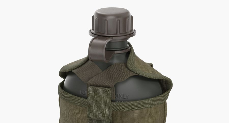 Outdoor Water Canteen Plastic Military 3D Model royalty-free 3d model - Preview no. 7