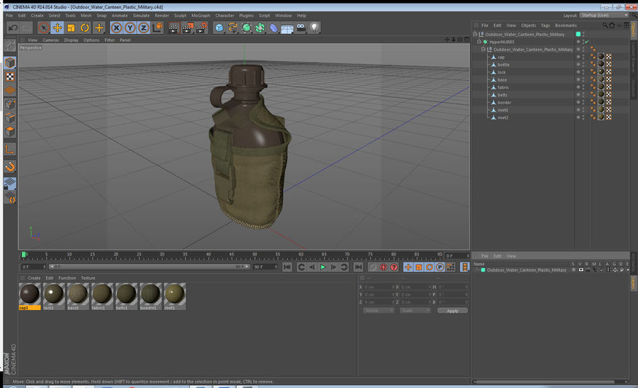 Outdoor Water Canteen Plastic Military 3D Model royalty-free 3d model - Preview no. 17