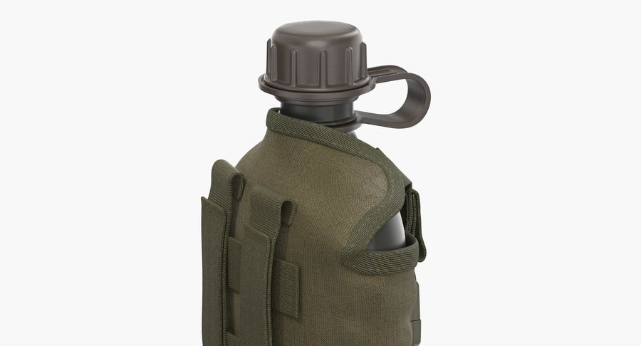 Outdoor Water Canteen Plastic Military 3D Model royalty-free 3d model - Preview no. 9