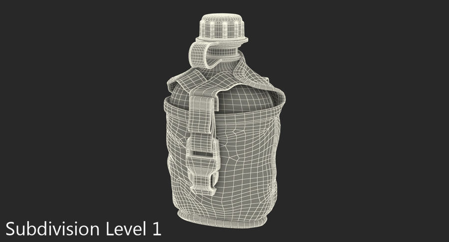 Outdoor Water Canteen Plastic Military 3D Model royalty-free 3d model - Preview no. 12