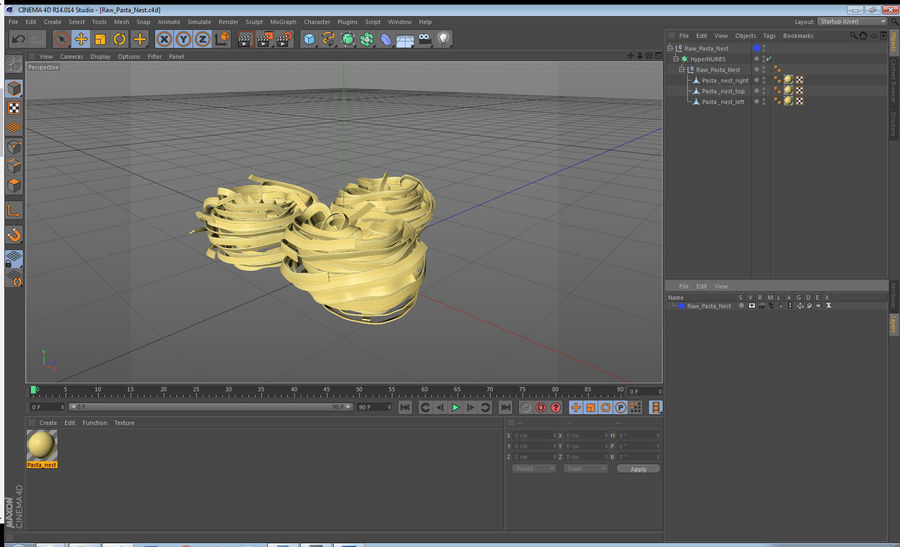 Raw Pasta Nest royalty-free 3d model - Preview no. 13