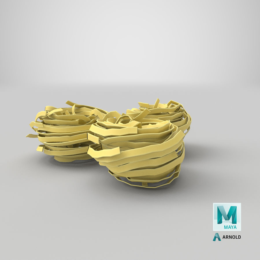 Raw Pasta Nest royalty-free 3d model - Preview no. 25