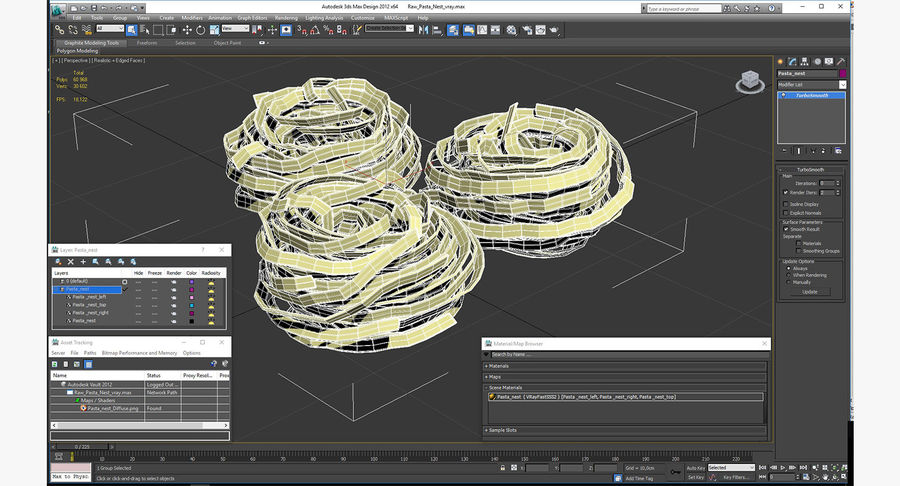 Raw Pasta Nest royalty-free 3d model - Preview no. 14