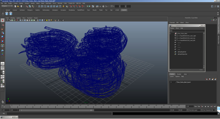 Raw Pasta Nest royalty-free 3d model - Preview no. 12