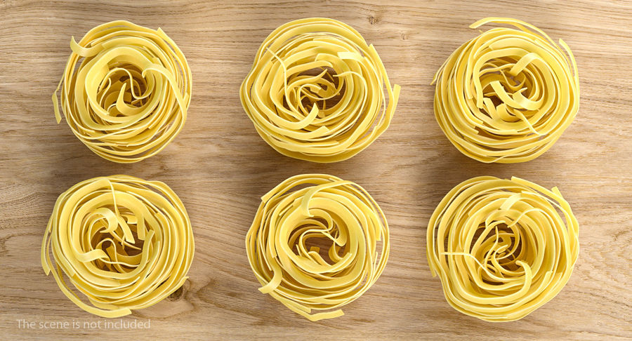 Raw Pasta Nest royalty-free 3d model - Preview no. 3