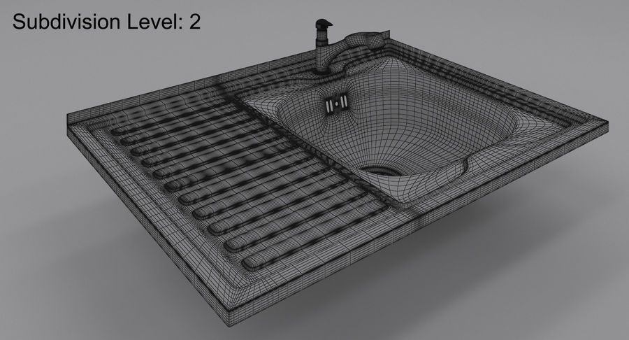 Évier et robinet royalty-free 3d model - Preview no. 10