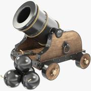 Vieux canon avec des boulets de canon 3d model