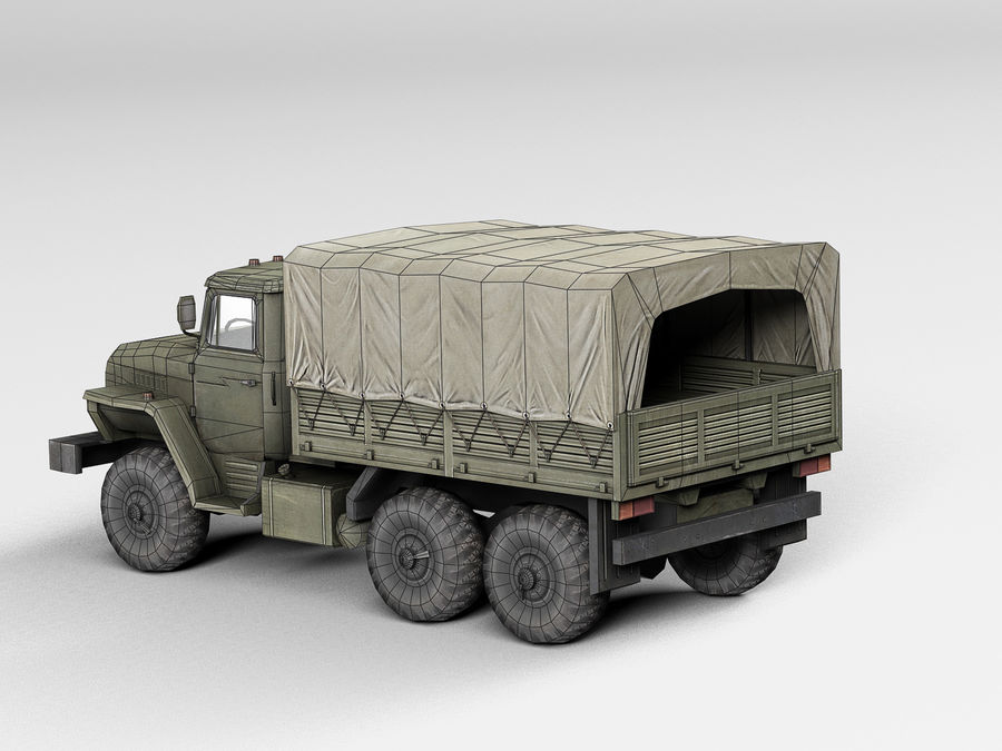 Military vehicle Ural royalty-free 3d model - Preview no. 9
