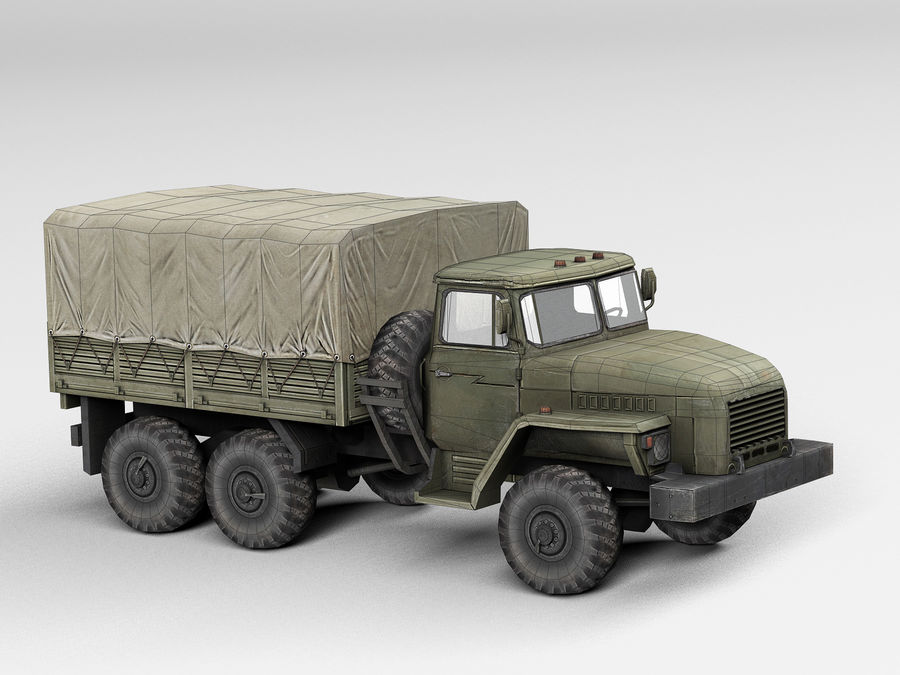 Military vehicle Ural royalty-free 3d model - Preview no. 8