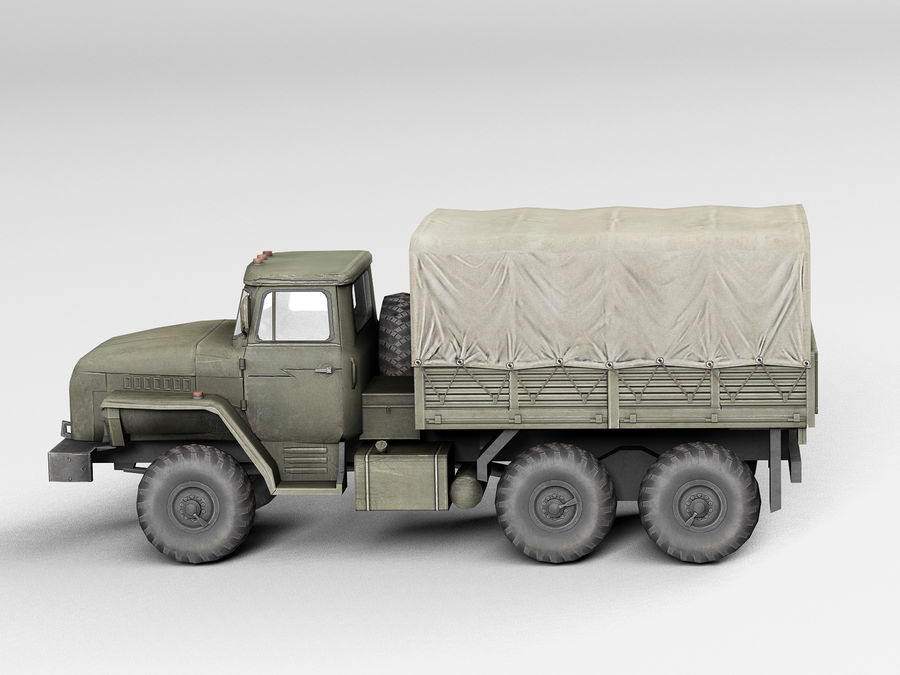 Military vehicle Ural royalty-free 3d model - Preview no. 2