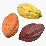 Cocoa Fruits Set 3d model