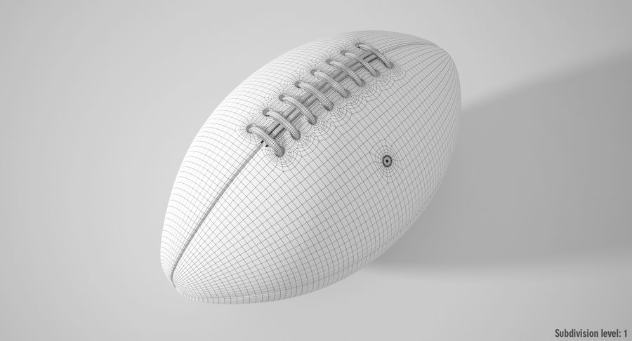 美式足球球 royalty-free 3d model - Preview no. 4